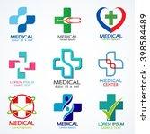 vector set of medical logo... | Shutterstock .eps vector #398584489