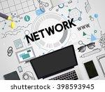 online network sharing www... | Shutterstock . vector #398593945