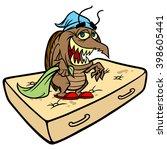 bed bug on a mattress | Shutterstock .eps vector #398605441