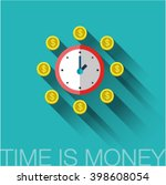 bright flat sign clock with... | Shutterstock .eps vector #398608054