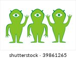 three green alien. can be used... | Shutterstock .eps vector #39861265