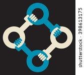 blockchain  4 hands support... | Shutterstock .eps vector #398613175