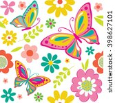 seamless spring pattern with... | Shutterstock .eps vector #398627101