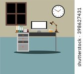 flat design desk layout | Shutterstock .eps vector #398627431