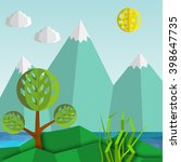 natural mountain landscape with ... | Shutterstock .eps vector #398647735