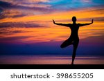 silhouette of woman on the... | Shutterstock . vector #398655205