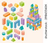 colored building blocks for... | Shutterstock .eps vector #398655604