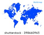 blue dot world map | Shutterstock .eps vector #398660965