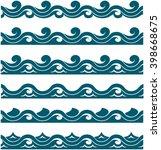 blue waves sea ocean vector...   Shutterstock .eps vector #398668675