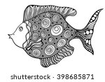 hand drawn vector fish with... | Shutterstock .eps vector #398685871