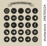 25 hand stitch border vintage... | Shutterstock .eps vector #398705224