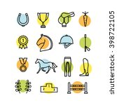 horse equipment icon set thin... | Shutterstock .eps vector #398722105