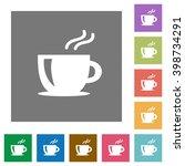 cappuccino flat icon set on...