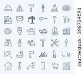 line construction tools icons... | Shutterstock .eps vector #398734591