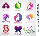 set of vector logos beauty... | Shutterstock .eps vector #398737054