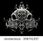 skull ornament  with black...   Shutterstock . vector #398741557