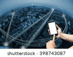 hand holding smart phone and... | Shutterstock . vector #398743087