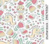 cute monster vector seamless... | Shutterstock .eps vector #398745067