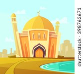 mosque building with lawn by... | Shutterstock .eps vector #398762671