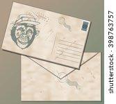 vintage envelope with a stamp...   Shutterstock .eps vector #398763757