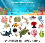 sea life animals plants and... | Shutterstock .eps vector #398772847