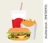 vector illustration lunch with... | Shutterstock .eps vector #398785951