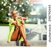 elegant sexy woman in bikini... | Shutterstock . vector #398790445