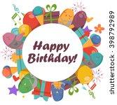 birthday card with cute birds...   Shutterstock .eps vector #398792989