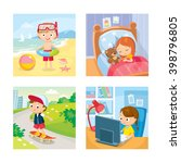 children with summer background ... | Shutterstock .eps vector #398796805