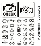 Car dashboard warning & information icons set.