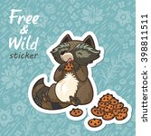 stickers with a cute raccoon | Shutterstock .eps vector #398811511