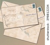 vintage envelopes with a...   Shutterstock .eps vector #398812234