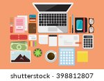 business flat lay | Shutterstock .eps vector #398812807
