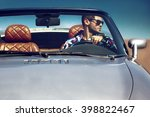 handsome man in the car. luxury ... | Shutterstock . vector #398822467