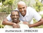 senior man hugging adult son   Shutterstock . vector #39882430