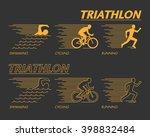 modern line triathlon symbol.... | Shutterstock .eps vector #398832484