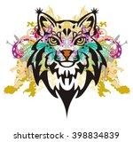 grunge lynx head. colorful... | Shutterstock .eps vector #398834839