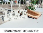 retro wedding ceremony outdoors.... | Shutterstock . vector #398839519