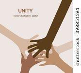 hands diverse unity... | Shutterstock .eps vector #398851261