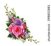 aster and rose flowers corner... | Shutterstock . vector #398852881