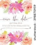 watercolor flower vector save... | Shutterstock .eps vector #398870959
