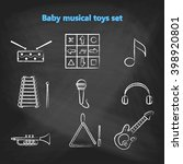 set of vector chalk icons of... | Shutterstock .eps vector #398920801