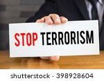 stop terrorism  message on... | Shutterstock . vector #398928604