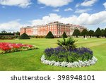 hampton court palace on a sunny ... | Shutterstock . vector #398948101