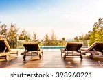 empty chair and swimming pool... | Shutterstock . vector #398960221