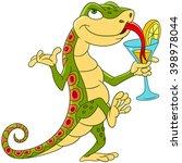 Cute Cartoon Lizard Dancing And ...