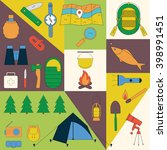 set of camping equipment... | Shutterstock .eps vector #398991451