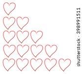 fifteen empty hearts of rating | Shutterstock .eps vector #398991511