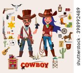 wild west cowboy and cow girl.... | Shutterstock .eps vector #398992489