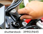 pilot inserting the key and... | Shutterstock . vector #399019645